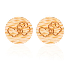Yiustar Round Earing Heart Pet Paw Footprint Stud Earrings for Girls Cute Animal Tassut Cat Dog Love Heart Charm Earing Jewelry(China)