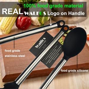 Image 5 - Walfos 100% Food Grade Siliconen Koken Lepel Soeplepel Ei Spatel Turner Keuken Gereedschap Roestvrij Staal Kookgerei Set