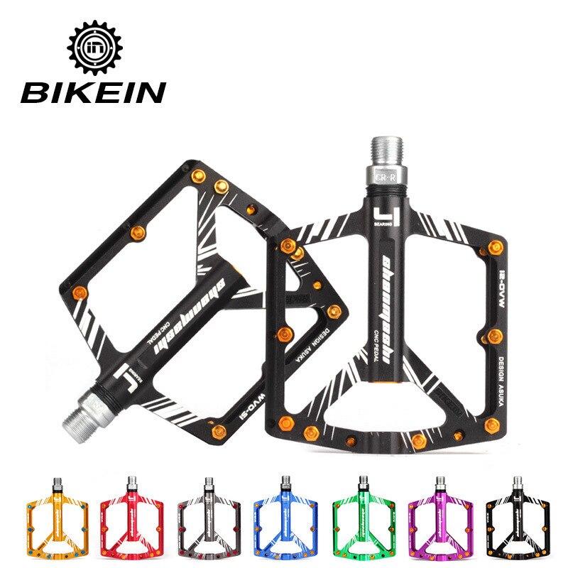 BIKEIN vélo vélo ultra-léger vtt CNC pédale en aluminium 4 pédales à roulement scellé pédales plates pièces de VTT 7 couleurs