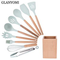 10PCS Premium Silicone Kitchen Cooking Utensils Set with Wood Handle Nonstick Cookware Turner Soup Spoon Egg Beater Spatula