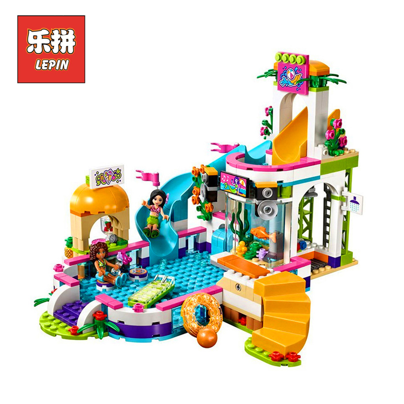 lepin Girl 01013 Heartlake Summer Swimming Pool legoing Friends 41313 Model Building Kits Blocks Bricks figure Toys For Children 589pcs diy girl friends the heartlake summer pool compatible with legoing figures building blocks bricks toys for children kid