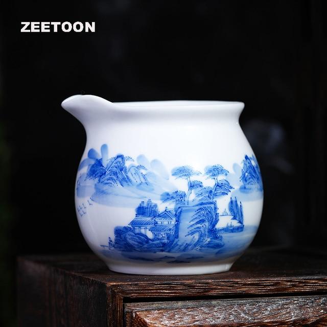 Boutique Jingdezhen Blue and White Porcelain Hand painted Landscape Fair Cup Cha Hai China Kung Fu Tea Set Tea Sea Cup 200ml New