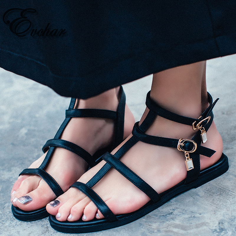 ФОТО Gladiator Sandals Women Summer Shoes Genuine Leather Buckle strap Flat Sandals For Women cow leather Sandales  size 33-40