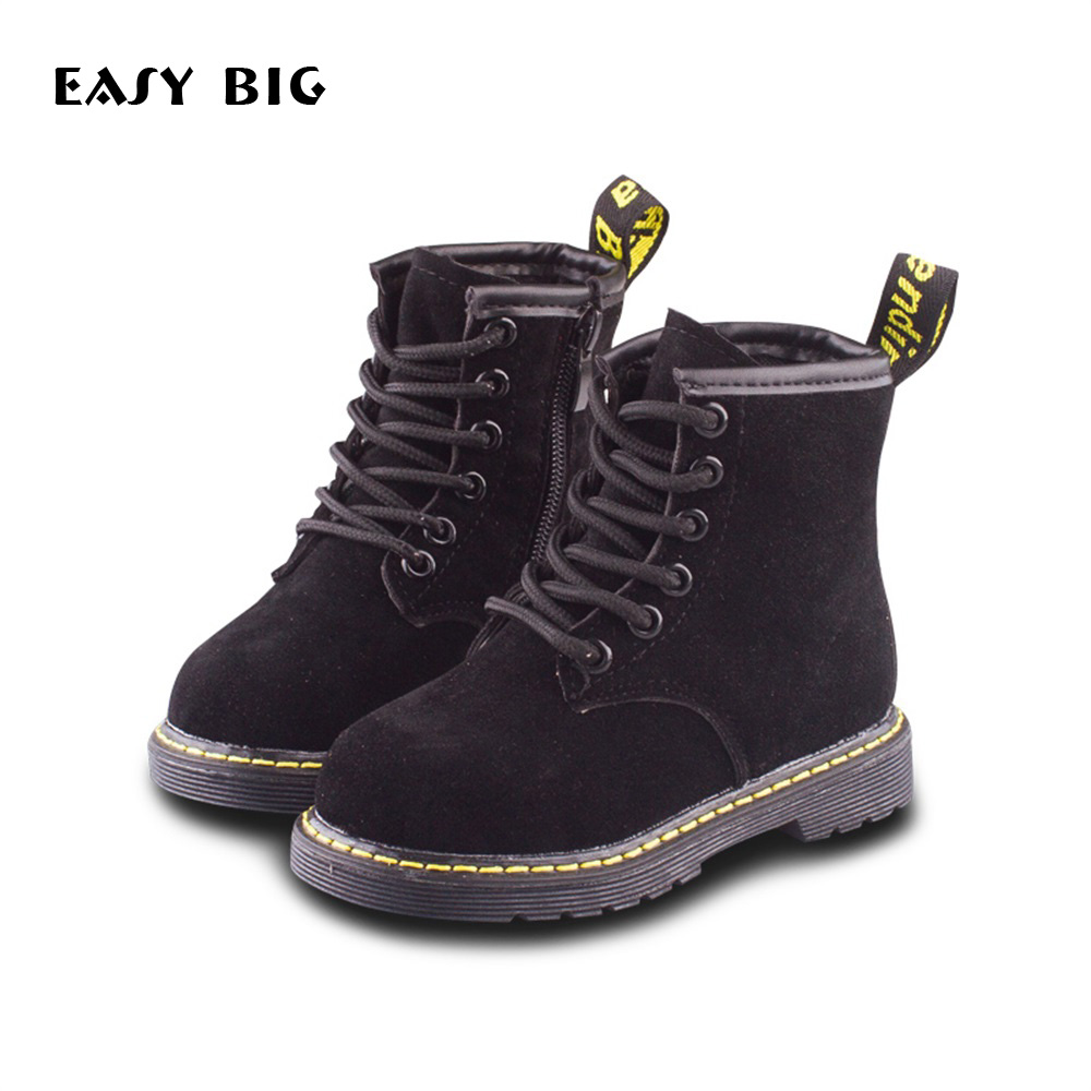 Autumn Winter Round Toe Unisex Children Boots For Boys Girls Boots Kids Flat With Fashion Shoes CS0011