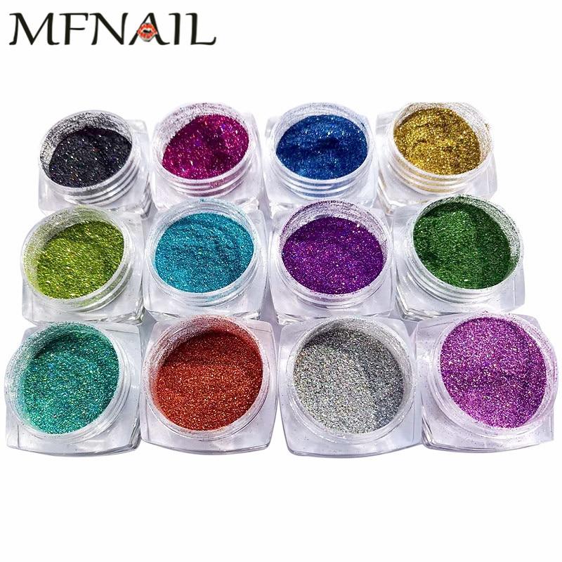 1/256 b Fpb05 Holographic Glitter Laser Pulver Nagel Glitter Set Maniküre Chrom Pigmente Nail Art Glitter Pulver Staub -0,1 Mm