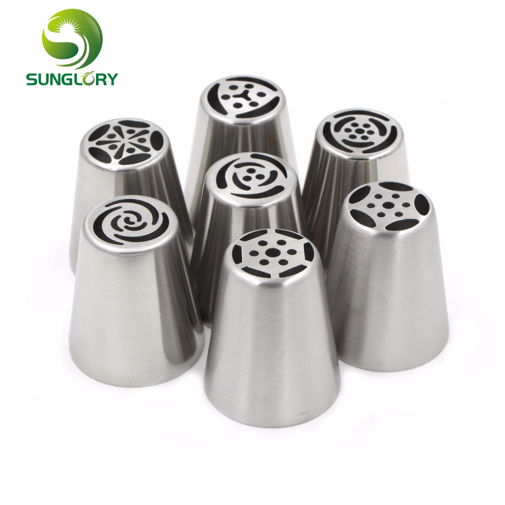 Cake Decorating Icing Tubes : 7PCS Stainless Steel Baking Russian Nozzles DIY Fondant ...