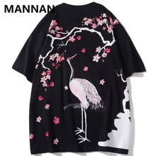 MANNAN Chinese Style Crane Cherry Blossoms Flowers Print Tshirts Summer Men Harajuku Casual Streetwear Top Tees Male Tee Shirt(China)