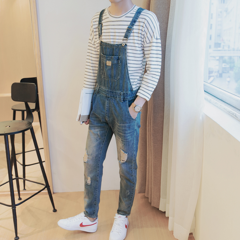 Young Loose Sling Ripped Jeans Mens Slim Fit Jeans Feminino Denim Overalls Mens Jeans Brand Clothing