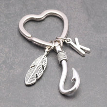7 Styles A-Z Letter Leave Hook Keychain Star Heart Key Rings Gift Fish Hooks Jewelry Fathers Day Llaveros Statement Gifts