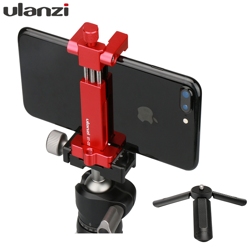 Ulanzi ST-03 Metal Tripod Mount Adapter for iPhone X 8 plus Samsung, Cold Shoe mount Support Rode Microphone/led video light
