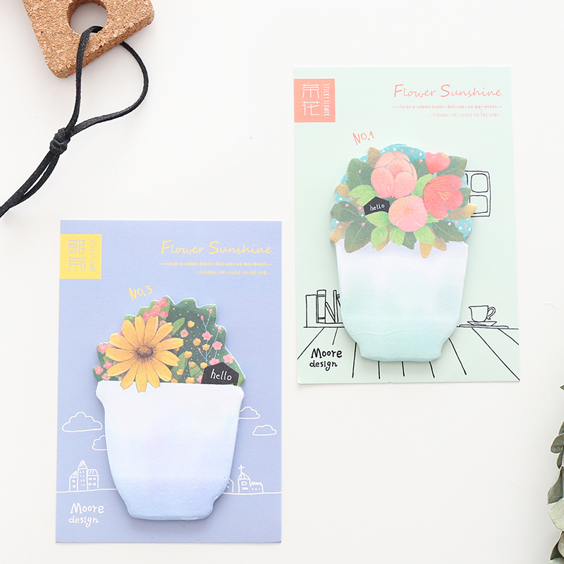 4 pcs/Lot Floral memo pad Succulent plant Daisy post notes Vintage planner sticker Stationery Office School supplies F554
