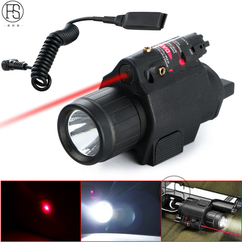 200 Lumen Tactical Combo 2 In 1 Tactical LED Flashlight +Red Laser Sight Combo For 20MM Rail Pistol Mini Glock Pistol Gun Light pzcd pz 16 skull style creative 2 led mini red flashlight keychain white 2 x ag3 included