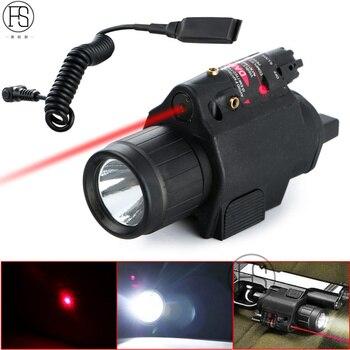 200 Lumen Tactical Combo 2 In 1 Tactical LED Flashlight +Red Laser Sight Combo For 20MM Rail Pistol Mini Glock Pistol Gun Light