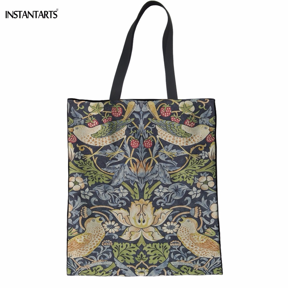 INSTANTARTS Fashion William Morris Pattern Women Cotton Shopping Bags Environmental Girl Cloth Tote Bags Casual Reusable Eco Bag forudesigns fashion women drawstring bags william morris print mini string rucksacks for female reusable storage backpacks bolsa