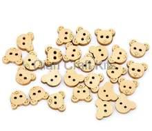 600 шт деревянные кнопки медведя два отверстия круглые 2 Кнопки