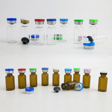 Free Shipping - 50 * 3ml Clear Glass Bottle & Flip off Plastic-Aluminum cap,3cc Amber Vials, Container