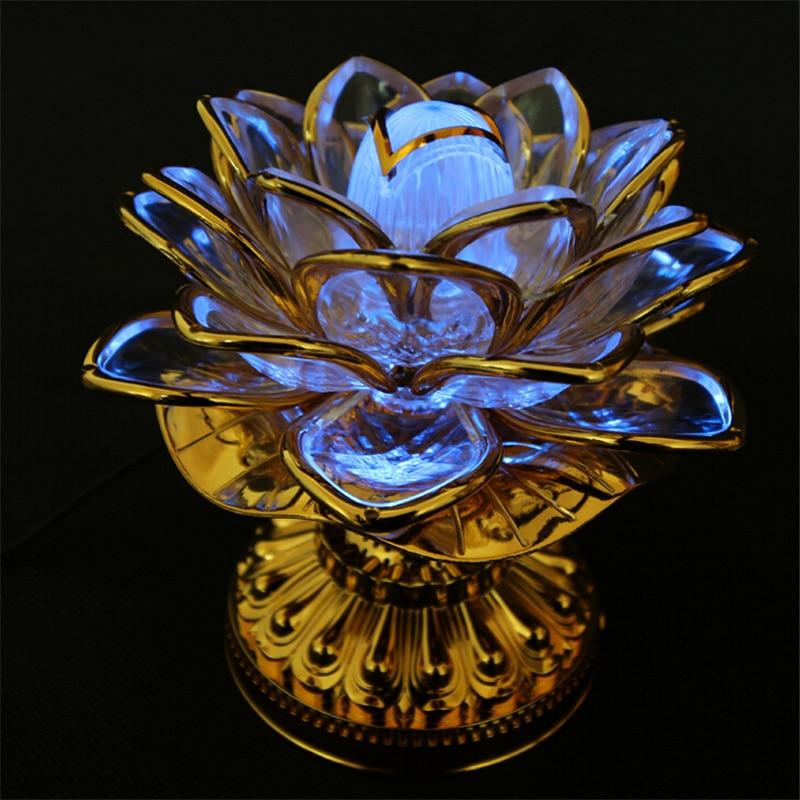 Pyhä 7 värikäs LED Lotus Lamppu buddhalainen tarvikkeet Alloy Base - Tavarat lomien ja puolueiden - Valokuva 3