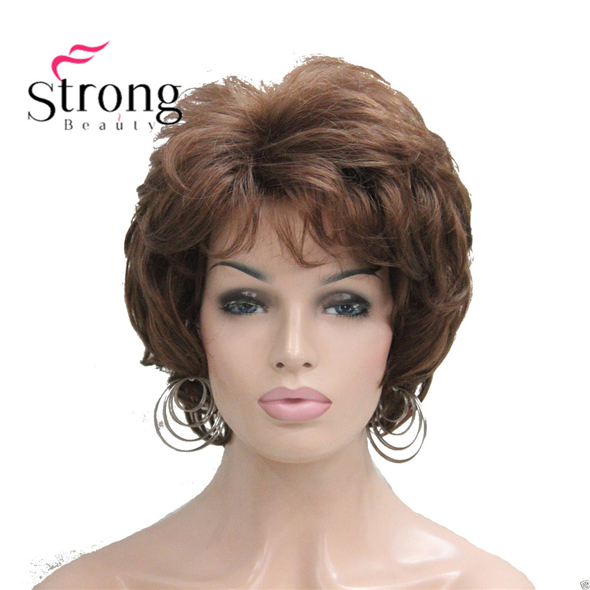 StrongBeauty Short Soft Tousled Curls Wig Auburn,Dark Brown Full Synthetic Wigs For Women