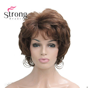 StrongBeauty Short Soft Tousled Curls Wig Auburn,Dark Brown Full Synthetic Wigs for Women(China)