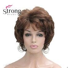 StrongBeauty krótkie miękkie Tousled loki peruka Auburn, ciemnobrązowe pełne peruki syntetyczne dla kobiet