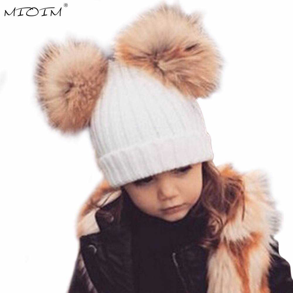 MIOIM Winter Baby Hat Two Real Fur Pom Pom Knitted Kid Warm Double Raccoon Fur Balls Beanies Boys Girls Skullies Bonnet Gorros 3 warm winter fun cos baby hat for girls and boys with real raccoon fur pom pom hat kids size 42 52cm