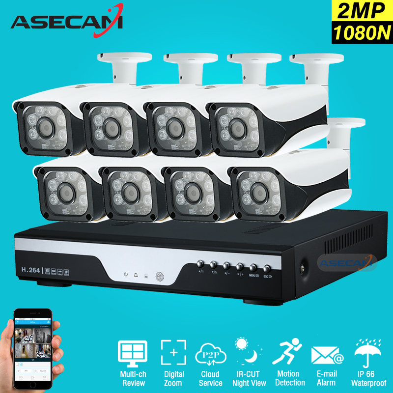 New 8Channel HD AHD 2MP Home Outdoor Security Camera System Kit 6led Array Video Surveillance 1080P CCTV Camera System 8ch DVR 1400tvl ahd camera 8ch 720p video surveillance security camera system 8 channel cctv dvr kit system p2p wifi