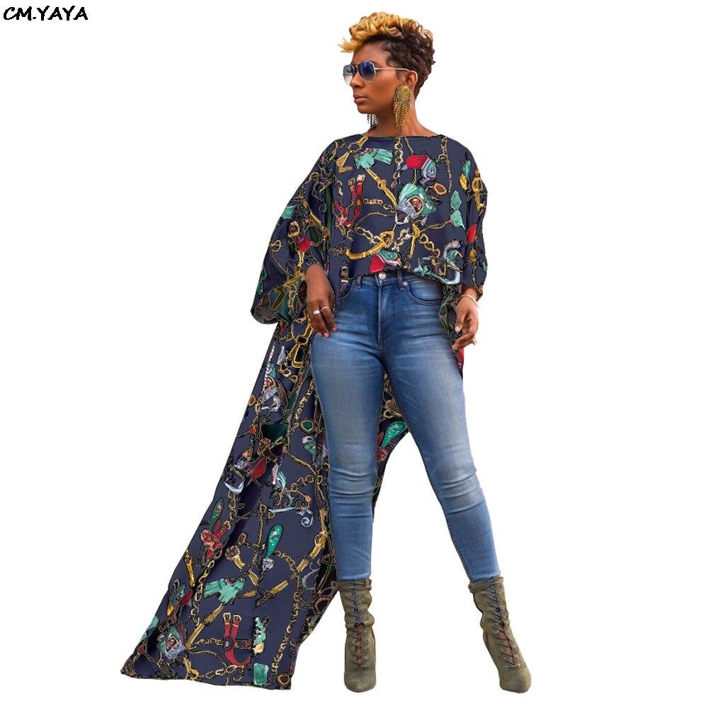 2019 new women vintage chain print o-neck long sleeve cocktail irregular high low floor length blouse shirt dress GL6095
