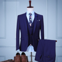 Jacket Pants Vest Latest Design Slim Fit Business Dress Royal Blue Wedding Groom Wear Men