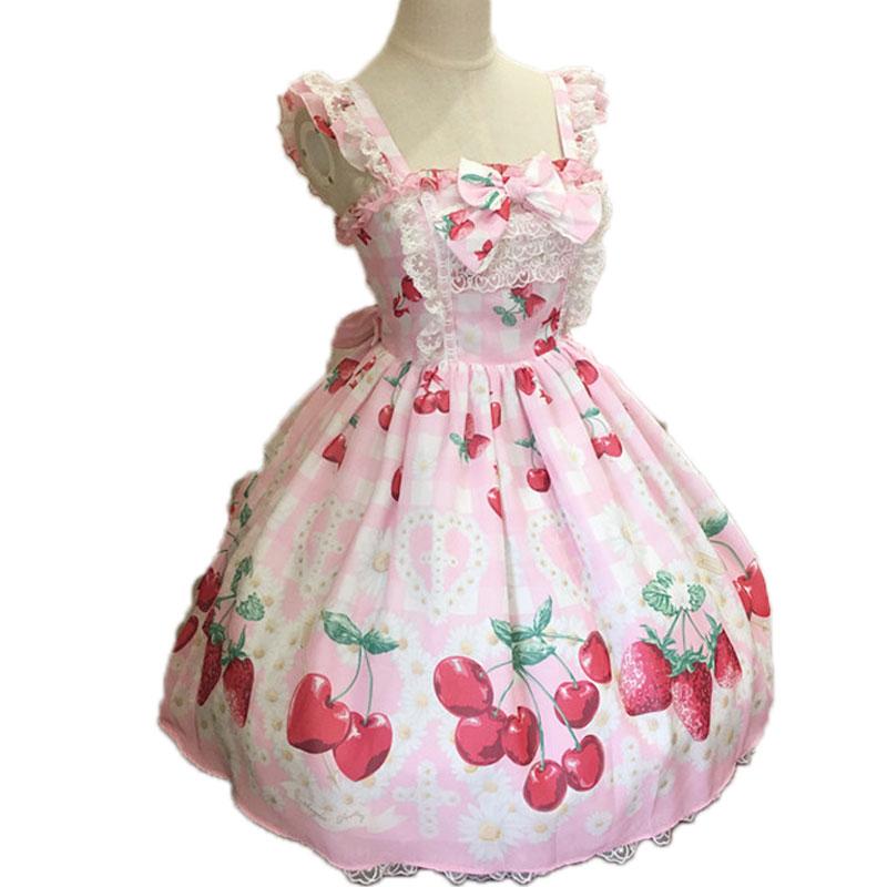 Strawberry and Cherry ~ Sweet Printed Lolita JSK Dress Sleeveless Chiffon Dress