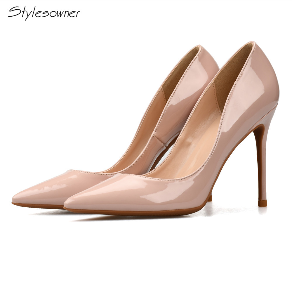 Stylesowner New Designer Patent Leather Pointed Toe Sweet Wedding Shoes Woman High Heels Look Thin Woman Pumps Stilletto Shoes avvvxbw 2017 pumps high heels shoes woman pointed toe patent leather wedding shoes sexy thin heels shoes sapatos feminino c512