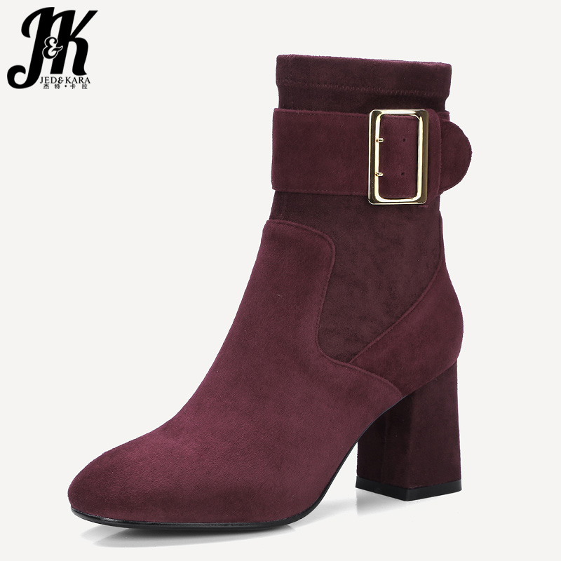 JK Autumn Thick High Heels Women Ankle Boots Round Toe Stretch Footwear 2018 New Kid Suede Boots Buckle Fashion Female Shoes