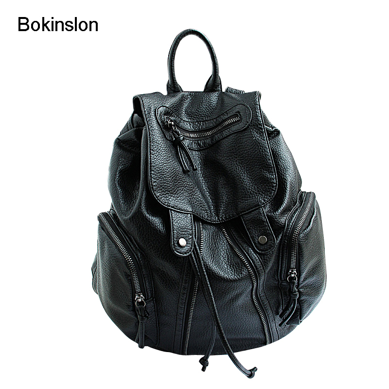 Bokinslon Girl Backpack Fashion PU Leather Backpack Soft Surface Ladies Individuality Solid Color Women College Wind