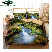 GOANG bedding Set 3d bed sheet duvet cover pillow 100% polyester king size set landscape Rivers and mountains Decor gift