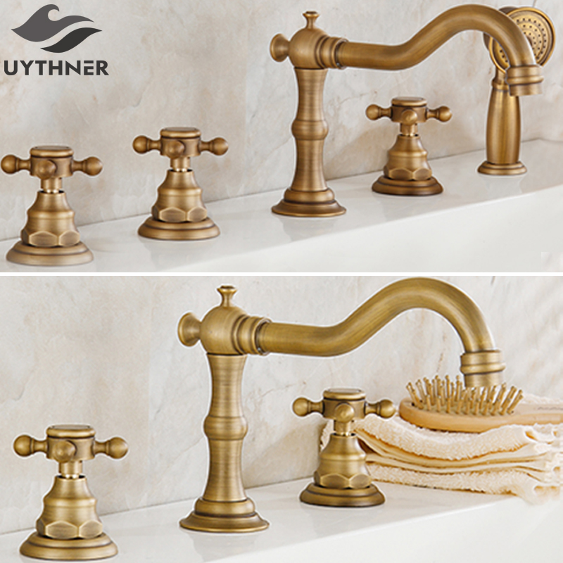 Uythner 3pcs 5pcs Antique Brass Dual Three Handles Bathroom Bathtub Faucet Deck Mounted Hot and Cold