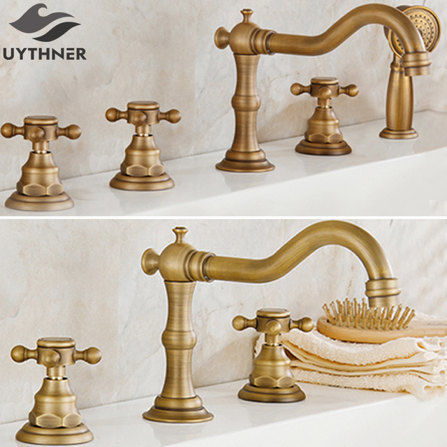 Uythner 3pcs & 5pcs Antique Brass Dual & Three Handles Bathroom Bathtub Faucet Deck Mounted Hot and Cold Water Mixer Basin Tap
