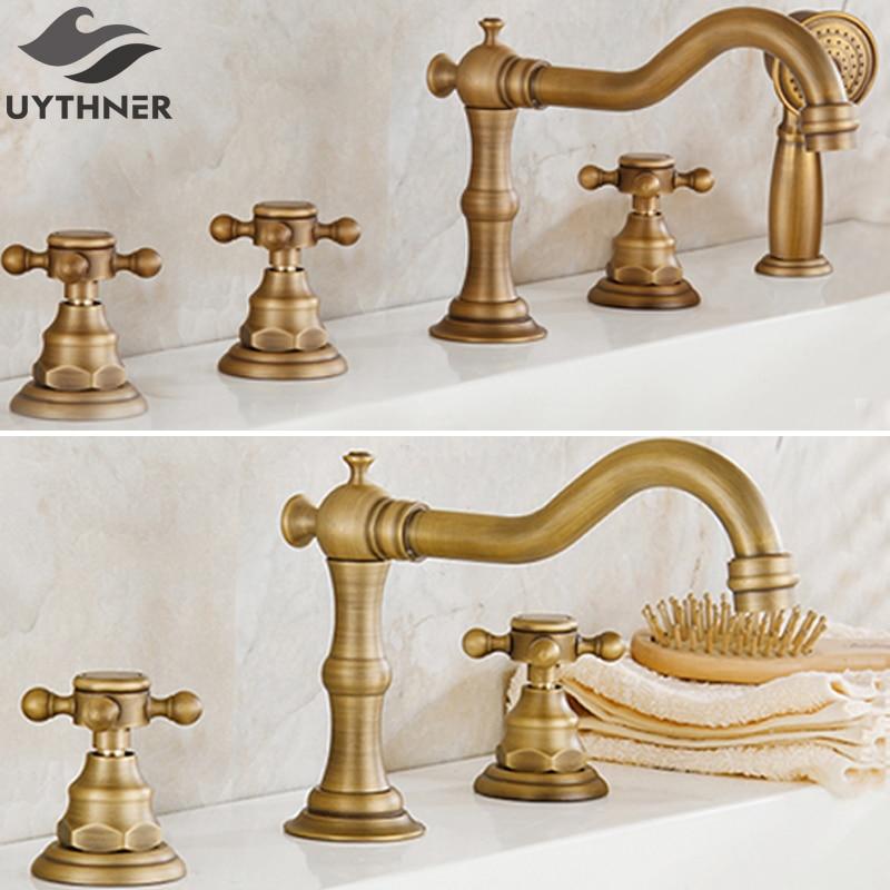 Uythner 3pcs & 5pcs Antique Brass Dual & Three Handles Bathroom Bathtub Faucet Deck Mounted Mixer Tap antique brass luxury bathtub faucet bathroom mixer tap brass handshower deck mounted 2 models
