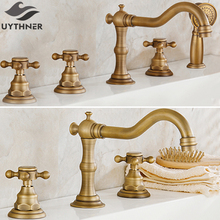 Uythner 3 stücke & 5 stücke Antike Messing Dual Drei Griffe Badezimmer Badewanne Wasserhahn Deck Montiert Mischbatterie