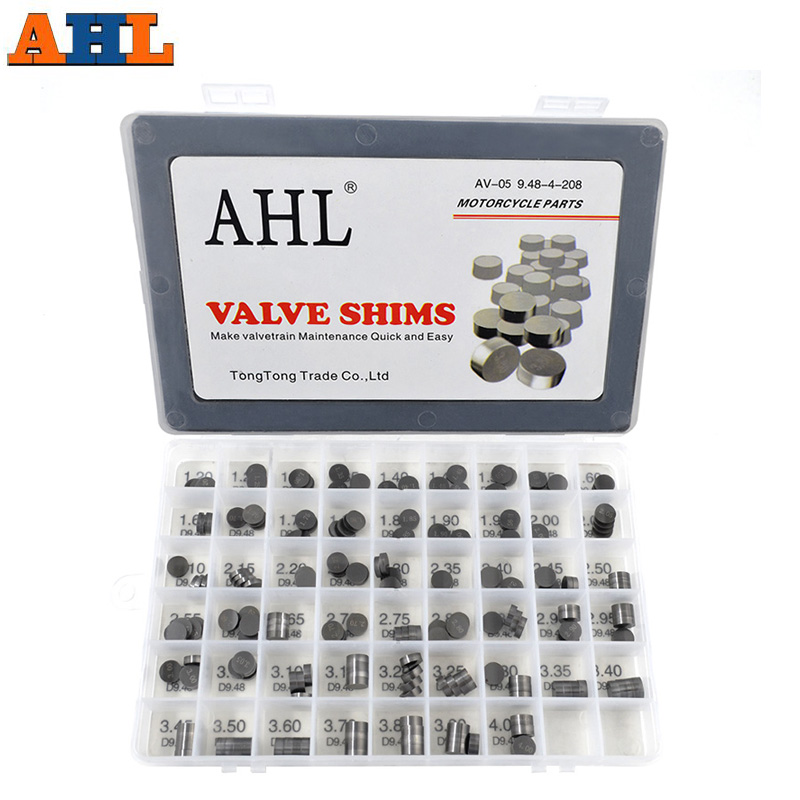 AHL 208pcs Motorcycle Engine Parts Adjustable Valve Pad Shims 9.48 mm Complete Valve Shim Kit Cams 1.2 ~ 4.0 title=