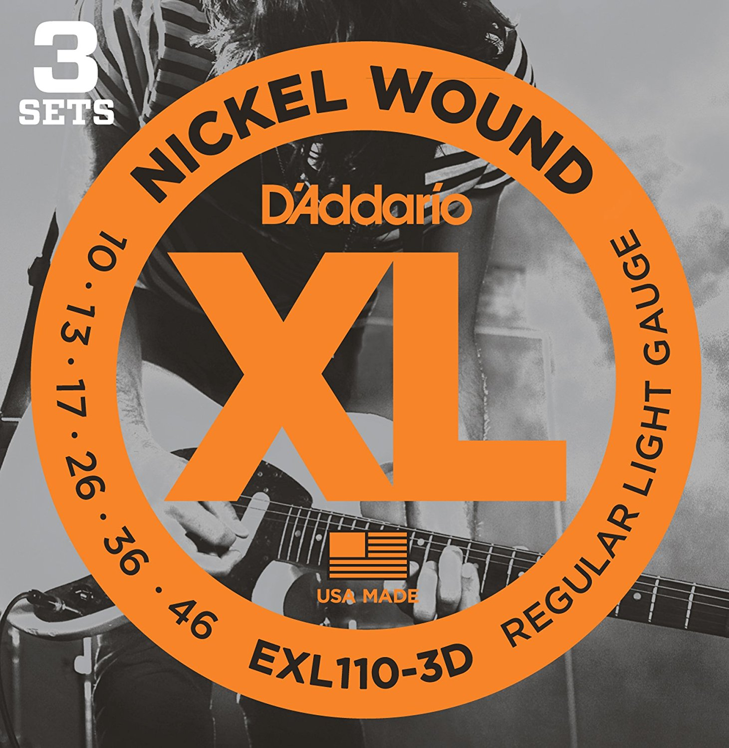 D'Addario EXL110-3D / EXL120-3D Nickel Wound Electric Guitar Strings, Regular Light or Super Light, 3 Sets Value Pack electric guitar strings 009 010 plated steel coated nickel alloy wound alice a506