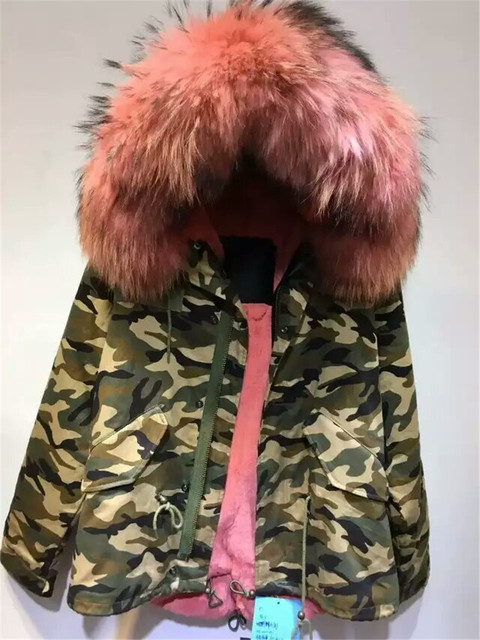 98e21a6ac084a Army Mr Mrs fur coats camouflage military fur coat watermelon red faux fur  lined parka jacket