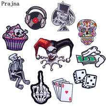 Prajna Cartoon Dice Card Iron On Patches For Clothing Skull Cake Rose Sticker Embroidered Patch Stripe Clothes Decor