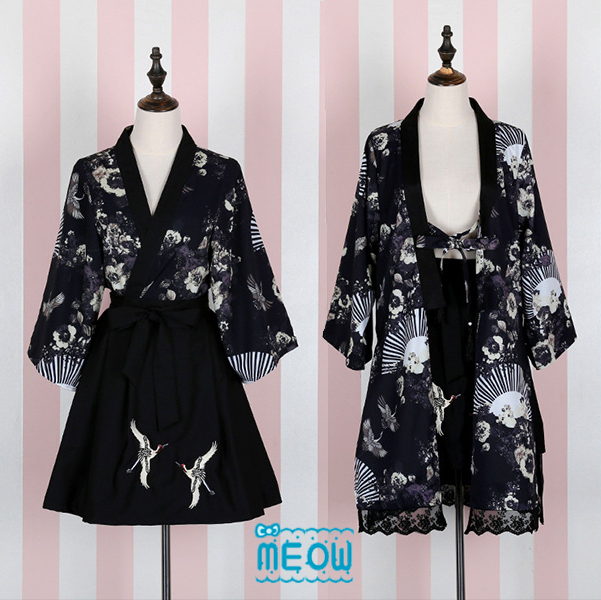 Japanese Style Crane Fans Theme Summer Women's 2PCS Set: Chiffon Kimono Blouse Outwear + Crane Embroidery Pleated Skirt Black