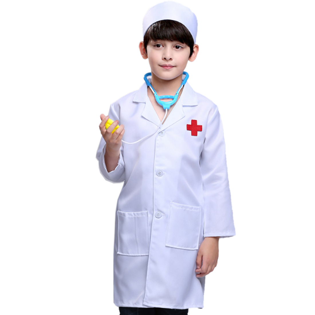 Pretend Play Little Nurse Doctor Professional Role Playing Costume For 90cm 110cm 130cm Children Boys- Long Doctor Sleeve + Cap