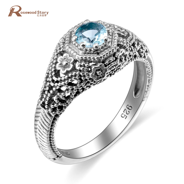 a4fafe96f6df44 Genuine 925 Classic Sterling Silver Wedding Ring Sky Blue CZ Round Cut  Skull Flower Shaped Vintage Crystal Ring For Women Party