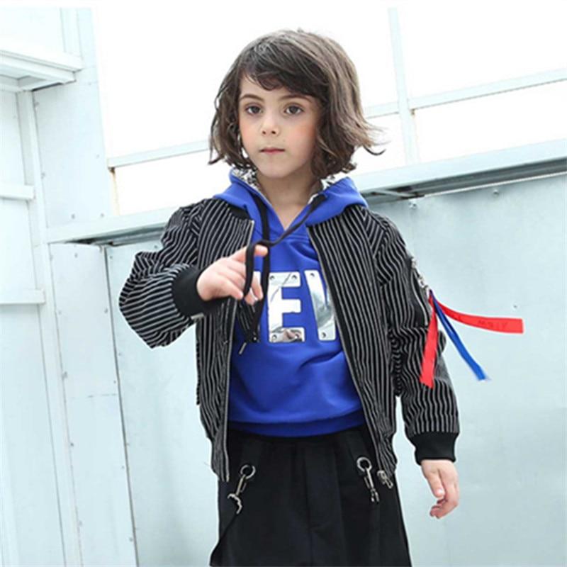 все цены на Tide Boy Baseball Jacket Suit Spring Autumn Teenagers Striped Jacket Children's Cardigan Sports Clothes for 4-14T Kids
