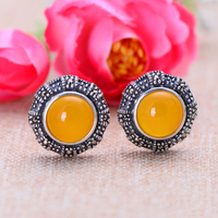MetJakt Natural Yellow Chalcedony Vintage Clip Earrings with Zircon Solid 925 Sterling Silver Earring for Women's Jewelry