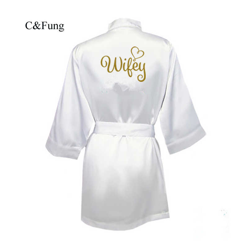 275d9eb8a C&Fung bride wifey Robe gold writing Satin white wedding dressing gown  peignoir femme bride to be