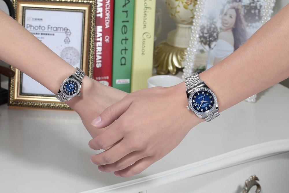 SANGDO niebieski dial tarcza automatyczne self wiatr ruch wysokiej jakości luksusowe pary oglądaj zegarki mechaniczne 025 S w Zegarki dla zakochanych od Zegarki na  Grupa 2