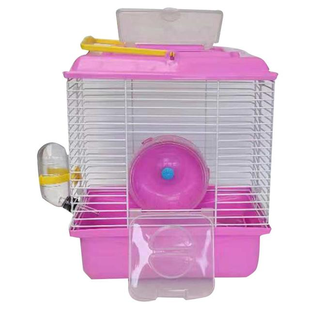 Portable Heighten Single Layer Pet Syrian Hamster Cage with Cover Running Wheel Bowl for Small Habitat Guinea Pigs Mice Habitat