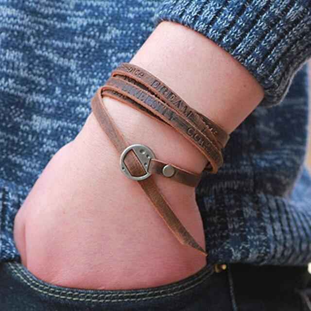 Купить 2017 новый модный коричневый кожаный браслет для отдыха ретро картинки